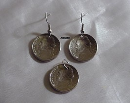 1963 Nickel Coin Art Earrings & Pendant/Charm Set 52nd Birthday Anniversary Gift - $14.84