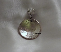 1970 QUARTER NECKLACE PENDANT KEYCHAIN CHARM COIN 45th BIRTHDAY ANNIVERS... - $9.89