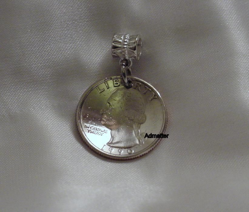 1988 QUARTER NECKLACE PENDANT KEYCHAIN CHARM COIN 27th BIRTHDAY ANNIVERSARY GIFT - $9.89