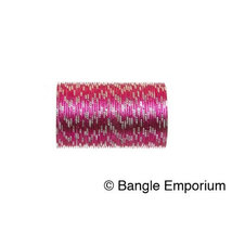 BangleEmporium Pixie collection 48 Bollywood Style Dark Pink Bangles with Silver - $24.99