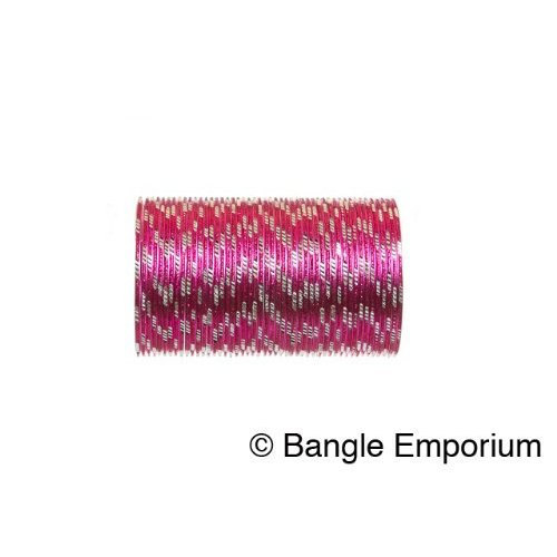 Primary image for BangleEmporium Pixie collection 48 Bollywood Style Dark Pink Bangles with Silver