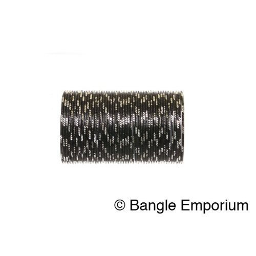 Primary image for BangleEmporium Pixie collection 48 Bollywood Style Black Bangles with Silver cut