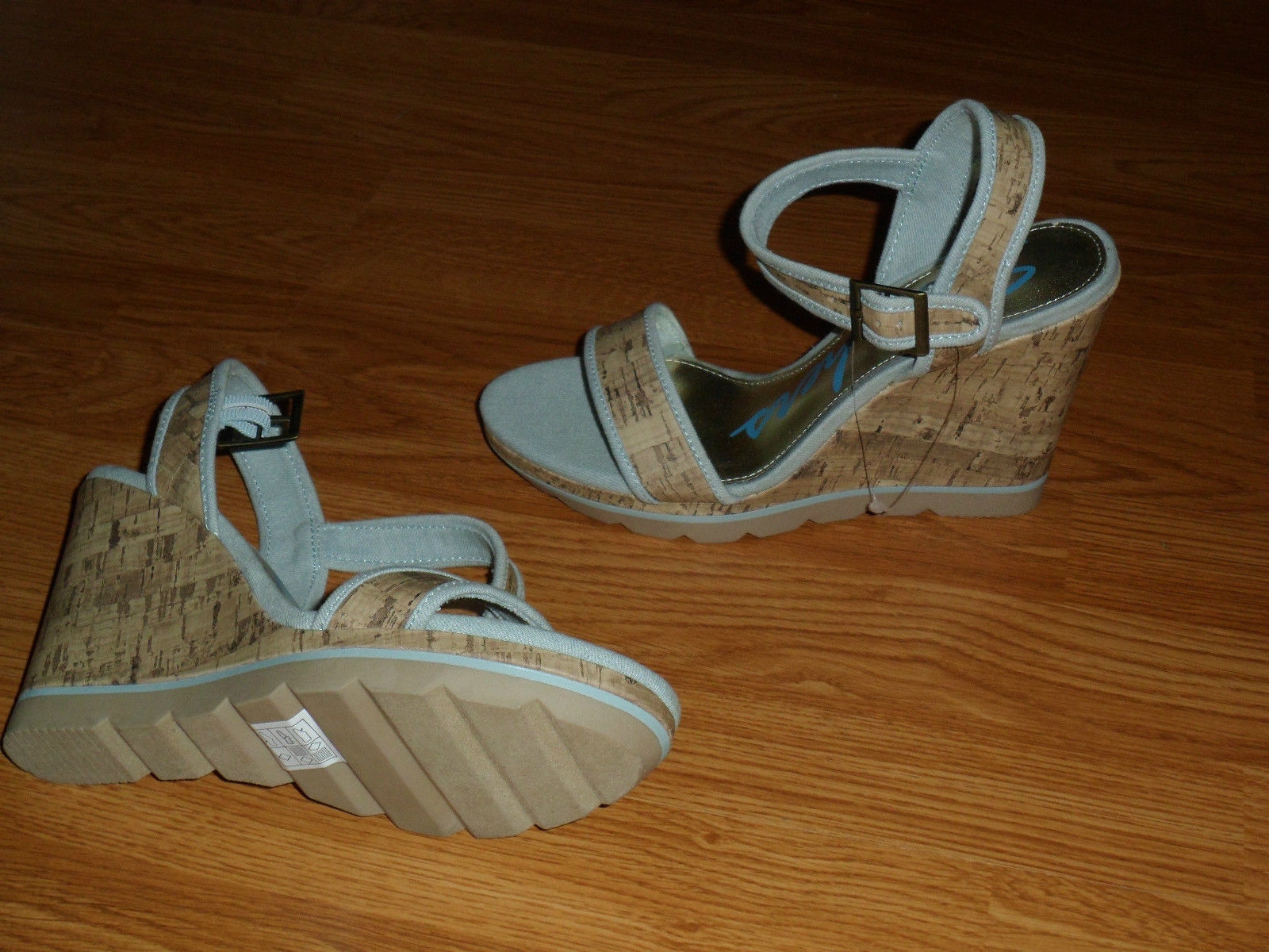 SKECHERS WEDGE HEELS SIZE 9 STRAPPY ANKLE STRAP SANDALS BLUE NWT