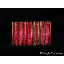 BangleEmporium Dusky Bride Collection 48 Pcs Traditional Dark Pink Gold Bangle B - $24.99