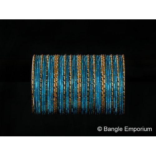 Primary image for BangleEmporium Dusky Bride Collection 48 Pcs Traditional Turquoise Gold Bangle B