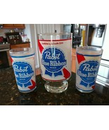 Pabst Blue Ribbon Footed Glass & 2 Glasses Red White Blue Clear Collectable - $46.08