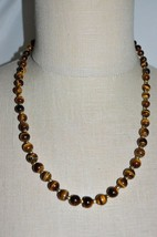VTG Gold Tone Genuine Real Tiger's Eye Gem Stone Bead Beaded Necklace Ch... - $99.00