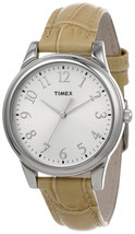 New TIMEX T2P128 Classics Women's Analog Steel Watch Leather Strap - $34.97