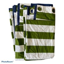 Pottery Barn Kids Rugby Grommet Curtain Panels 50x84 Green Stripe Blue Set Of 2 - $88.83