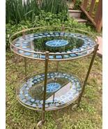 Vtg mid century modern Georges Briard Style Oval Brass Trolley Bar tea C... - $699.99