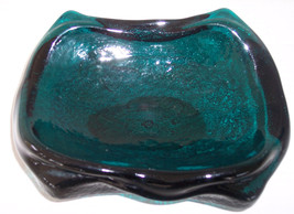 Vintage 1950's Blenko Aqua Green Color Handmade Sculptured Glass Square ... - $124.99