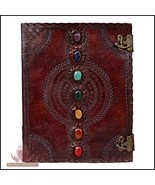 Leather Journal Book Seven Chakra Medieval Stone Embossed Handmade Book ... - $65.73