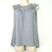 Plenty by Tracy Reece Top T-Shirt Women Size XS Sleeveless Gray Rayon FLAW - $12.86
