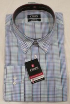 CHAPS Mens Plaid Classic Fit Wrinkle Free Long sleeve Stain Release Dress shirt - $16.00