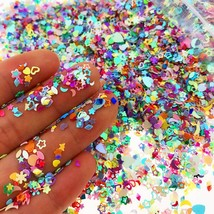 2000PCS Mixed Glitter Heart Star Flower Sequins Stickers Decals Nail Art... - $10.65