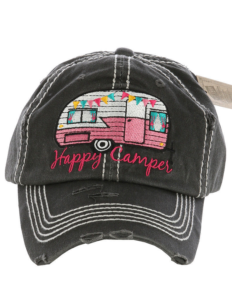 Distressed Vintage Style Happy Camper Hat Baseball Cap Mom Runner
