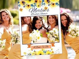 Bridal Shower Sunflower Floral Frame Photo Booth Photo Prop Bridal Shower Party - $15.83+