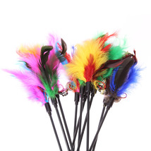 5Pcs Cat Toys Soft Colorful Cat Feather Bell Rod Toy for Cat Kitten Funny Playin image 2