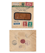 1940 Portugal Registered Multifranked Airmail Cover Lisboa to USA Backst... - $19.95