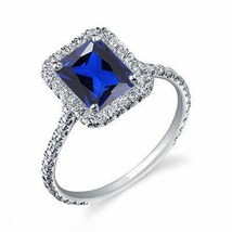 Emerald Cut Blue Sapphire Womens Engagement Ring 14k White Gold Over 925... - £54.96 GBP
