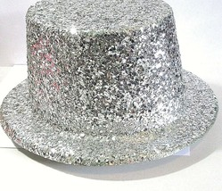 SILVER GLITTER SPARKLY JAZZY TOP OR CABARET STYLE HAT COSTUME ENTERTAINMENT - $24.00