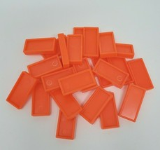 25 VINTAGE ORANGE PRESSMAN DOMINO RALLY DOMINOES REFILL PIECES FOR SET P... - $8.20