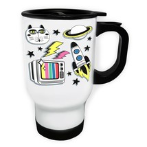 New Galaxy Elements Collection  White/Steel Travel 14oz Mug h518t - $17.79