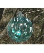 "Hanging Glass Ball 4"" Diameter Clear with Aqua Blue & White Specks (1) H... - $13.37"