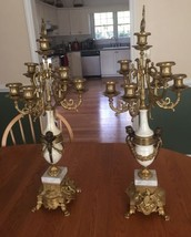 Pair of Antique Italian Marble & Brass Candelab... - $750.00