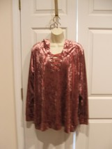 NWT City Streets Crushed Velvet Hooded TUNIC Top Lace Up Front MAUVE Siz... - $18.55