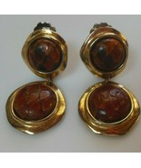 Vintage Signed RASCO NYC Clip-on Earrings Gold-tone Faux Leather Hinged ... - $17.99