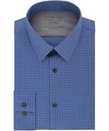NWT Calvin Klein Men's Size 16.5 32/33 Blue Dot Print Dress Shirt - $29.65