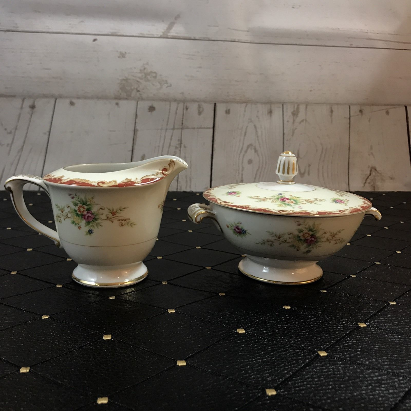 Vtg Stanford Pattern By Sango 3 Piece Covered Sugar & Creamer - Excellent