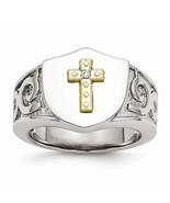 Men's Stainless Steel & 10K Gold Plated Cross & Diamond Ring - $149.99