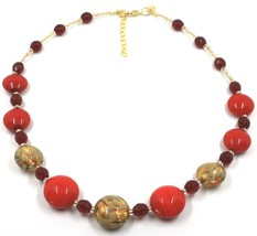 """NECKLACE RED YELLOW MURANO GLASS DISC & GOLD LEAF, MADE IN ITALY, 50cm, 20"""" image 1"""