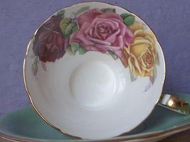 Vintage Aynsley Large pink yellow roses tea cup, Green Bone china teacup image 9