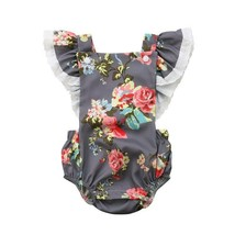 Newborn Baby Girl clothes Flower print Sleeveless Ruffle Jumpsuit backle... - $9.25+