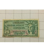 Series 591 25 Cents US Military Payment Certificate Bank Note - $55.00