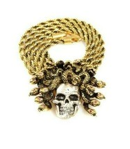 """Han Cholo Silver Gold Plated Medusa Skull Pendant with 26"""" Rope Chain NEW image 2"""
