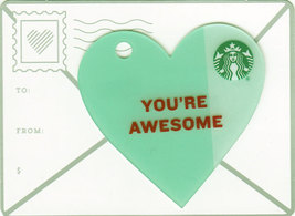 Starbucks 2015 You're Awesome Blue Mini Heart Collectible Gift Card New ... - $2.99