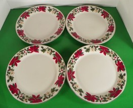 Gibson Red Poinsettia Holiday Dinner Plate (S) Lot Of 4 Holly Berry Christmas - $24.70