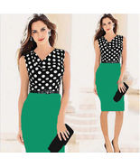 Womens Business Sleeveless Fitted Colorblock Polka Dot Dress Bodycon Fit... - $11.00