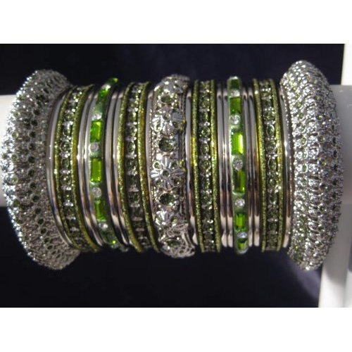 Primary image for Indian Bridal Collection Panache' Indian Henna Green Bangles Set in Silver Tone