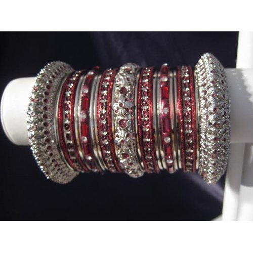 Primary image for Indian Bridal Collection Panache' Indian Maroon Bangles Set in Silver Tone By Ba