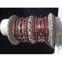 Indian Bridal Collection Panache' Indian Maroon Bangles Set in Silver To... - $39.99