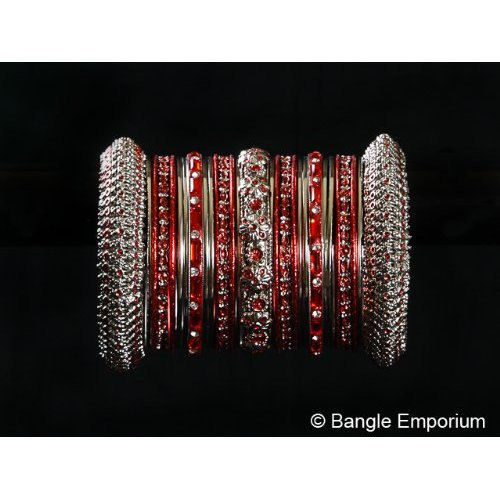 Primary image for Indian Bridal Collection Panache' Indian Red Bangles Set in Silver Tone By Bangl