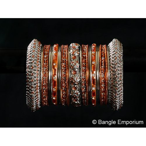 Indian Bridal Collection Panache' Indian Orange Bangles Set in Silver Tone By Ba