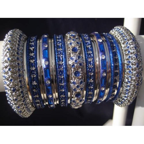 Indian Bridal Collection Panache' Indian Dark Blue Bangles Set in Silver Tone By