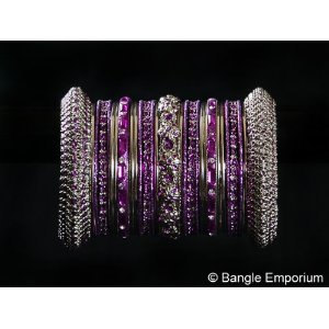 Primary image for Indian Bridal Collection Panache' Indian Purple Bangles Set in Silver Tone By Ba