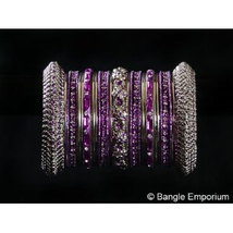 Indian Bridal Collection Panache' Indian Purple Bangles Set in Silver To... - $39.99